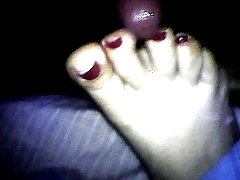 sleeping cumonfeet redtoenails