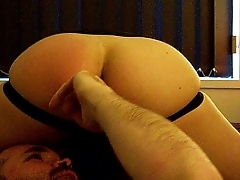 Young hot twink boy sits on a bear face and get his hole rimmed and fingered