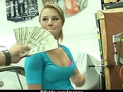 Tight-fisted teen fucks a man in front be incumbent on the camera for cash 20