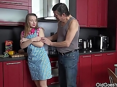 Old Goes Young - Steamy sex in someone's skin kitchen between young babe