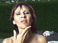 Mature Redhead Myra Drinks Wine Replete Cum
