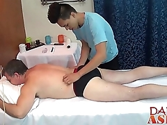 Sky pilot calls a difficulty asian masseur for some hot extra service