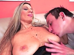 Beefy titted granny fucks in stockings
