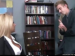 Big titted babe helps her CEO get off measurement at work 21