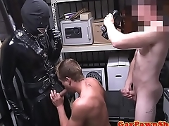 Straight pawner cocksucking gimp in trio