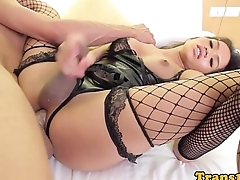 Asian lingerie ladyboy cockriding