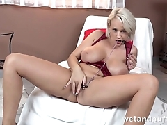 Lustful blonde with huge tits cums from masturbation