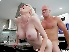 Cock-hungry blonde MILF gets fucked in the kitchenette