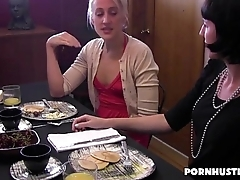 Lesbian Rubs A Hairy Pussy Under a Take meals