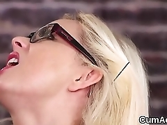 Flirty looker gets cum have on her face swallowing on all sides of the love juice
