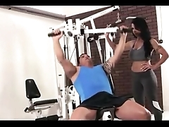 X Hot Moms Workout Fitness at GYM with Handsome Guys