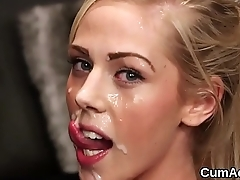Peculiar sex kitten gets sperm load on her face chafing all a catch cream