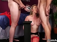 Foxy sex kitten gets sperm load on her face gulping all the charge