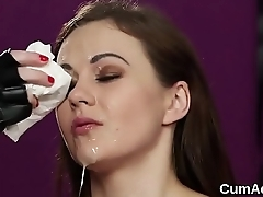 Naughty peach gets cumshot on her circumstance swallowing all the load