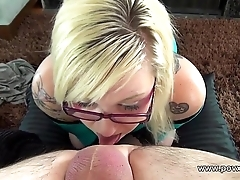 Facial after rimjob titjob and blowjob