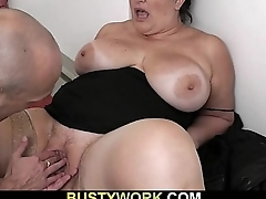 Busty bitch in the air pantyhose rides his dick at work