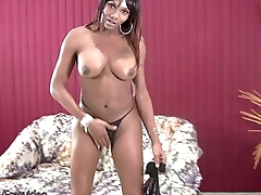 Black TS with bigtits stuffs tight ass with dildo coupled with jerks